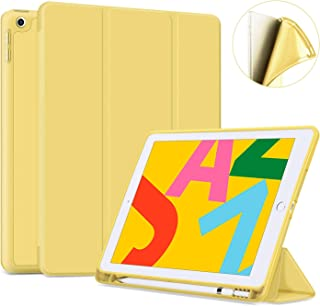"""Ayotu Soft Case for New iPad 7th Generation 10.2"""" 2019, Auto Sleep/Wake Slim Lightweight Trifold Stand Case with Pencil Holder,Soft TPU Back Cover for Apple iPad 10.2 & iPad Air 3rd 10.5 inch,Yellow"""