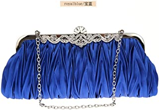 Shoulder Bag Women Silk Cocktail Evening Clutches Purse Bag Handbags Handbag Clutch (Color : Royal Blue)