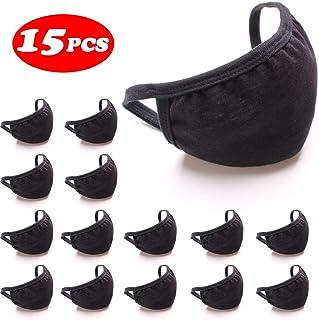 15 Pack Black Cover Fashion Protective, Unisex Black Dust Cotton, Washable, Reusable Cotton Fabric (Black)