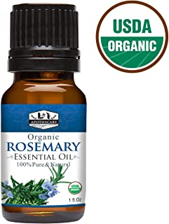 1 fl. Oz Organic Rosemary Essential Oil, USDA Certified Organic, 100% Pure, Natural, undiluted Therapeutic Grade, Refreshing Scent, Excellent for Aromatherapy