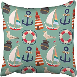 Emvency Throw Pillow Covers Print 18 x 18 Inch Seashore Retro with Cartoon Sailing Ship Anchor Lighthouse Life Buoy and Seagull on The Pier Square Zipper Polyester Home Sofa Decorative Case