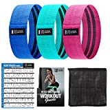 Fitness Insanity Resistance Bands for Legs and Butt, Fabric Workout Loop Bands, Set of 3