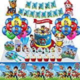 SVZIOOG Party Decorations Birthday Party Supplies, Birthday Party Packs Include Plates, Napkins, Dinnerware, Cups, Balloons, Tablecloths, Banner, Cake Topper (Dog Party)