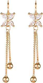 Parure di Collana e Orecchini placcati in Oro 14 K con Cristalli Rossi e Zirconia cubica Efulgenz per Donne e Ragazze e Damigelle dOnore