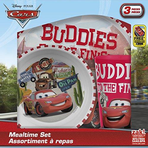 Zak Designs Cars Plate, Bowl & Cup Gift Set, Lightning McQueen & Mater