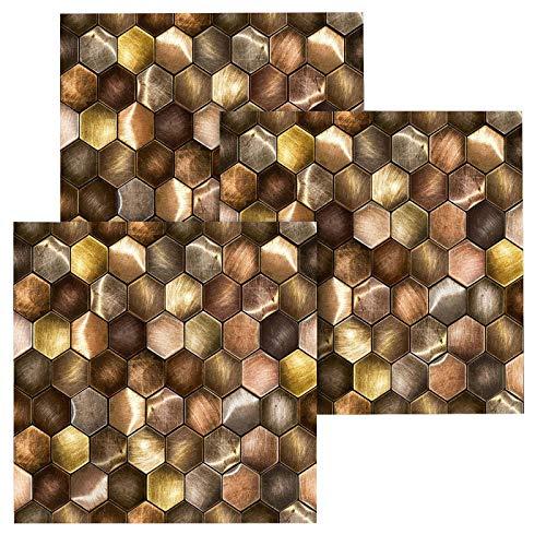 YOYIK 3D - Adhesivo decorativo para suelo de pared, 10 azulejos de mosaico elegantes con seis lados de metal, adhesivo para azulejos de baño y cocina