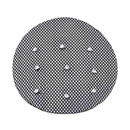 89 – 609 – Élégant cache-chignon en maille élastique avec strass et bord renforcé en satin – Convient pour la danse et la cérémonie – Diamètre 10 cm environ – Filet à cheveux donut.