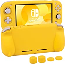 Silicone Protective Case for Nintendo Switch Lite, Soft Grip Case Cover with Comfort Ergonomic Handles for Nintendo Switch Lite 2019 [Self Stand][4 Thumb Stick Caps] (Yellow)