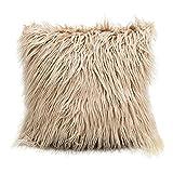 MOLEK Funda de Almohada Mongol Piel sintética Almohada Cubierta súper Suave Felpa Tirar Almohadas Esponjoso Tirar Almohadas cojín Decorativo Cubiertas de cojín 45x45CM (no