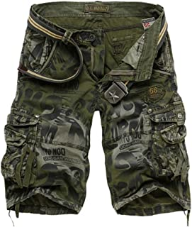 HaDlin Mens Cotton Cargo Shorts with Multi Pockets Big & Tall Loose Fit Camo Military Pants