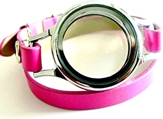 Generic Multi-color Plain Twist Threaded Watch Locket with 8mm PU Leather Wrap Bracelet Living Memory Floating Charm Locket DIY Jewelry (plain locket with hot pink wrap)