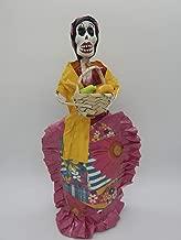 COLOR Y TRADICIÓN Mexican Catrina Doll Day of Dead Skeleton Paper Mache Dia de Los Muertos Skull Folk Art Halloween Decoration Fruit Seller # 1529