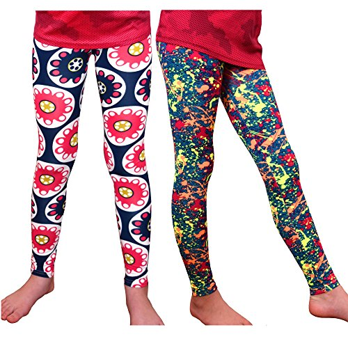 Syleia Girl Leggings High Rise Bright Patterns (Small, Multi-Color)