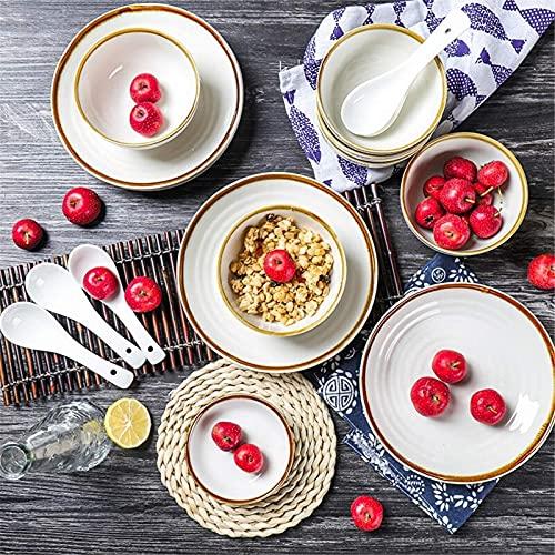 Juego de Platos, Conjuntos de Cena de cerámica, Cuenco/Plato/Placa | Tipos de múltiples Tipos de vajillas Japonés Estilo en Relieve Juego de vajillas - Familia y Restaurante de Cocina, 18 Piezas,