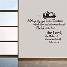ikonan Wall Decal Sticker Art Mural Home Decor Quote I Lift Up My Eyes to The Mountains Where Does My Help Come from for Bedroom Living Room