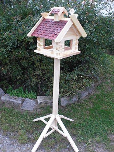 Vogelhaus mit Ständer (V05+S1) XXXL Braun-Vogelhäuser Vogelfutterhaus Vogelhäuschen-aus Holz- Schreinerarbeit-