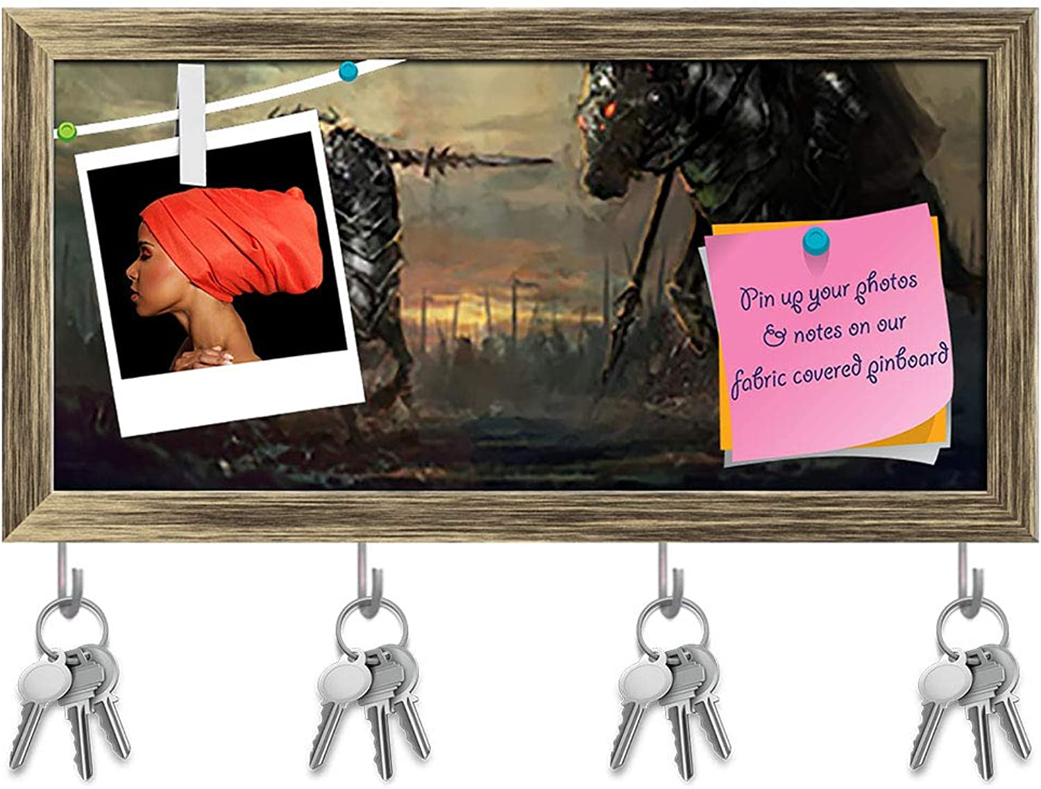 Artzfolio General Leading His Army in War D5 Key Holder Hooks   Notice Pin Board   Antique golden Frame 16.1 X 8Inch