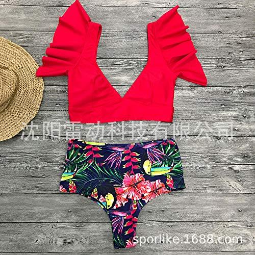 Tummy Control-zwemkleding voor vrouwen, retro bikini met hoge taille, vest met ruches, diep zwempak met V-hals, rood vogellipje, dames-bh-ondergoed