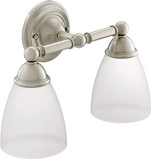 Moen YB2262BN Brantford 2-Light Dual-Mount Bath Bathroom Vanity Fixture with Frosted Glass, Brushed Nickel