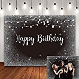 Happy Birthday Black Silver Backdrop Shiny String Lights Glitter Dots Black Photography Background Sweet 16 30th 40th 50th 60th 70th Birthday Party Decor Photo Shoot Booth Prop 7x5FT