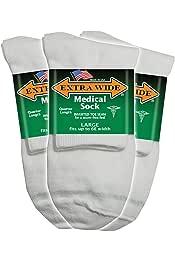 Large 12-16  #1218C Big /& Tall Extra Wide Socks MEDICAL QUARTER 3-pack BLACK
