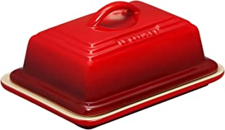 Le Creuset of America Heritage Stoneware Butter Dish, Cerise (Cherry Red)