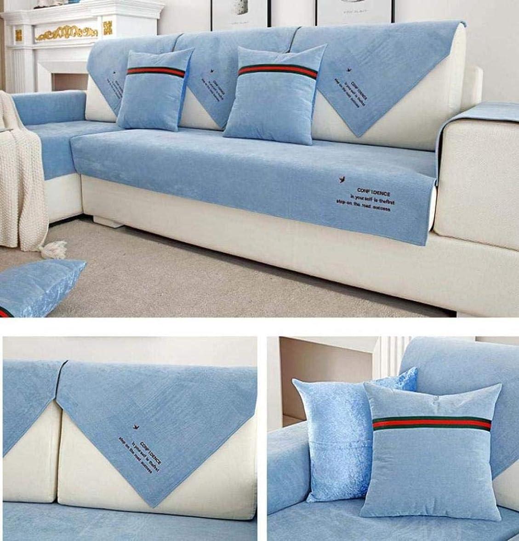 くつろぐ感嘆符構造ソファカバー、ソファ/椅子用スリップカバー、防水ノンスリップソファクッションカバー、漏れ防止ソファクッションタオル, Blue, 90*240cm