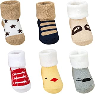 OKWIN, Calcetines Bebé Algodón 6 Pares Calcetines Recien Nacido Niño Lindo Calcetines de Bebe Niña Invierno 0-36 Meses Infantil