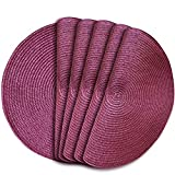 Home Fashion Round Braided Woven Polypropylene Plastic Placemats 6pcs (Maroon, 6)