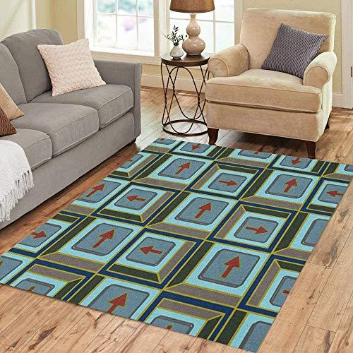Anna-Shop Area Tapijt Accent Abstract Patroon Pijlen op Knop Batik Bodem Home Decor Vloerkleed 84 x 60 Inch Tapijt