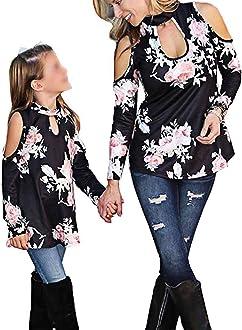 Loalirando Madre e Figlia Maglia a Manica Lunga Maglione con Bowknot Top Senza Schienale Primavera Autunno Inverno