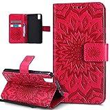 Kompatibel mit Huawei Honor 7i Hülle,Huawei Honor 7i Schutzhülle,Prägung Mandala Blumen Sonnenblume PU Lederhülle Flip Hülle Cover Ständer Etui Wallet Tasche Hülle Schutzhülle für Huawei Honor 7i,Rot