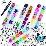 3D Lentejuelas de uñas de mariposa 48 colores/set,Holográfica Butterfly Nail Lentejuelas Acrílico Decoraciones para Uñas nail art,cabello,arte corporal y DIY Lentejuelas manualidades
