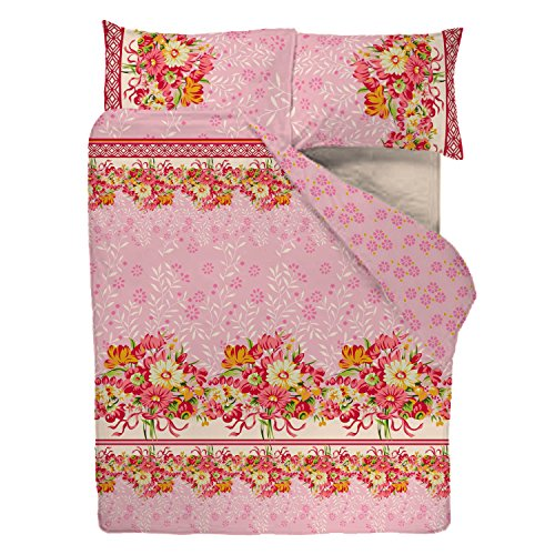 SASA CRAZE Bedding Poly Cotton Duvet Cover Set with 2 Pillowcases, King- Pink Blossom