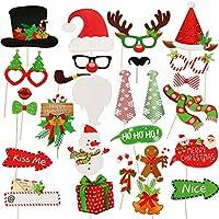 Easy Joy クリスマスの写真小道具 フォトプロップス クリスマスの写真ブースの小道具 サンタロース、トナカイ、雪だるの28枚セット