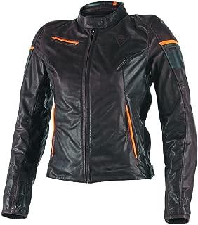 Dainese Michelle Women's Leather Motorcycle Jacket (EU 44 / US 34, Dark Brown/Black/Orange)