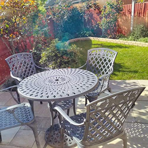 Lazy Susan MIA 90cm 4 Seater Round Table, Weather-resistant, Maintenance Free, Compact Design, Lightweight, Artisanal Sand Cast Aluminium, Slate Grey Finish, Rose Chairs, Terracotta Cushions