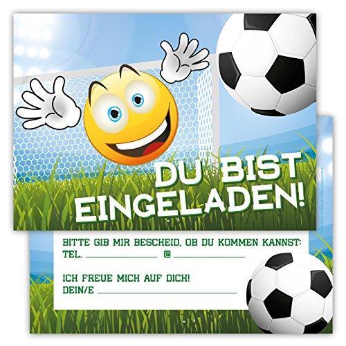Einladungskarten für Kindergeburtstage für Jungen oder Mädchen (Emoji Fußball, 12 Stück im Kartenset)