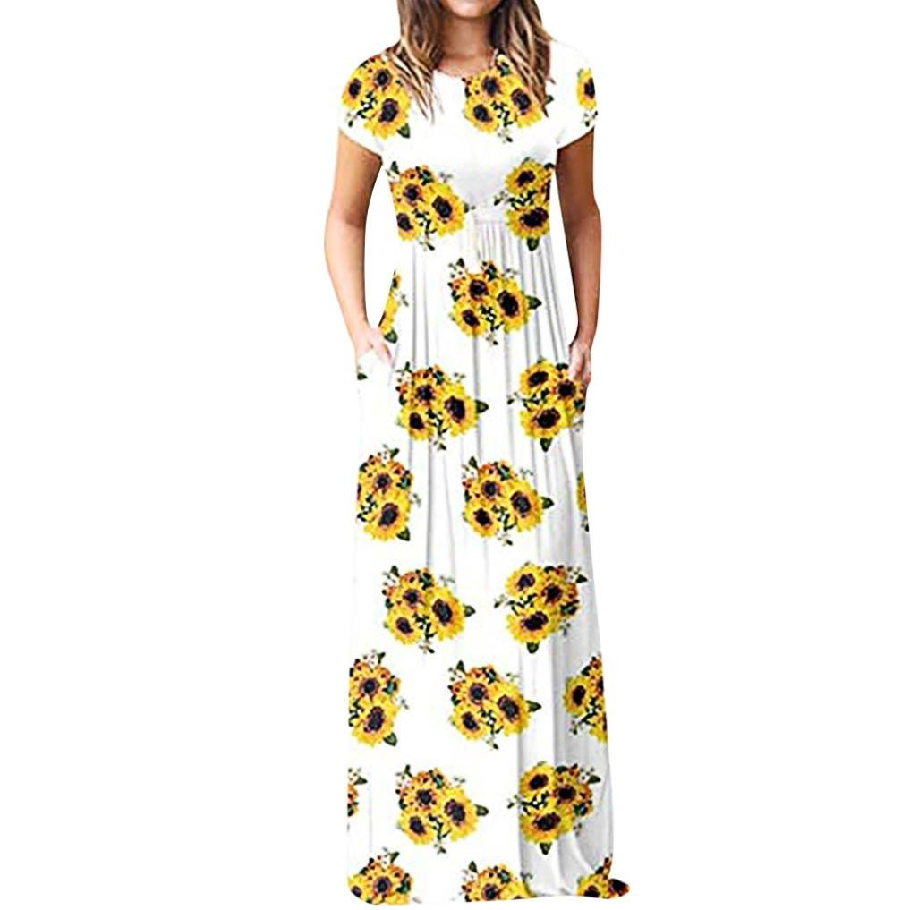 Available at Amazon: Summer Plain Dress Women's Casual Short Sleeves Long Sleeves Crewneck Side Split Loose Maxi Dress