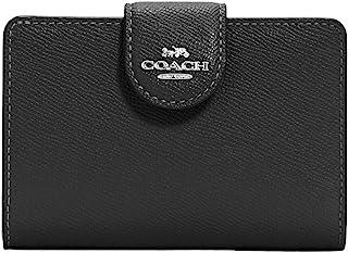 Coach Women's Medium Corner Zip Wallet in Crossgrain Leather (Black)