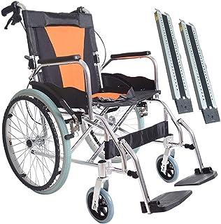 車椅子 折りたたみ 軽量トイレ障害者用#トロリーを持参自己Propelのバリア#、18インチ#のシート幅#バンド車椅子ランプ# - イエロー