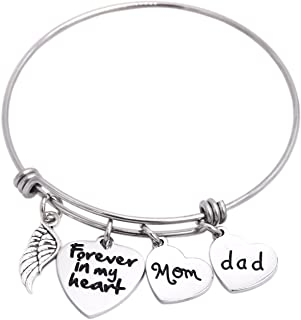 in Memory of Dad Mom Memorial Jewelry Dad Mom Parent Loss Bracelet Stainless Steel