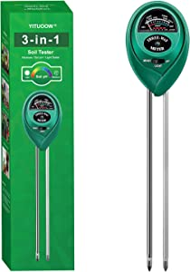 YITUOOW Soil Moisture Meter - 3 in 1 Soil Test Kits with Soil Moisture, Light, pH Tester, Gardening Tool Set for Plant Care, Suitable for Lawn Care, Gardens, Potted plants, Indoor & Outdoor, Farms Use