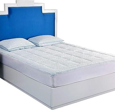puredown Topper, Jacquard Azul y Blanco, Tela de Seda de Hielo refrescante para colchón de Verano, Queen,