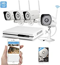 Zmodo Wireless Security Camera System - NVR w/ 1TB Hard Drive, 4 x 720P HD Wireless Cameras Night Vision - WiFi Easy Installation No Video Cables Needed