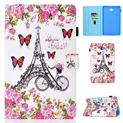 Pefcase Galaxy Tab A 10.1 Case SM-T580/T585 (2016 Model) Slim PU Lather Case Smart Stand Cover with Auto Wake/Sleep and Pencil Holder for Samsung Galaxy Tab A 10.1 inch Tablet - Eiffel Tower