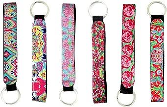 Cool Neoprene Wristlet Keychain Lanyard 6 Pack - Neoprene Key Chain Holder to Match Chapstick Holder Keychain, 6 Unique Fun Colors