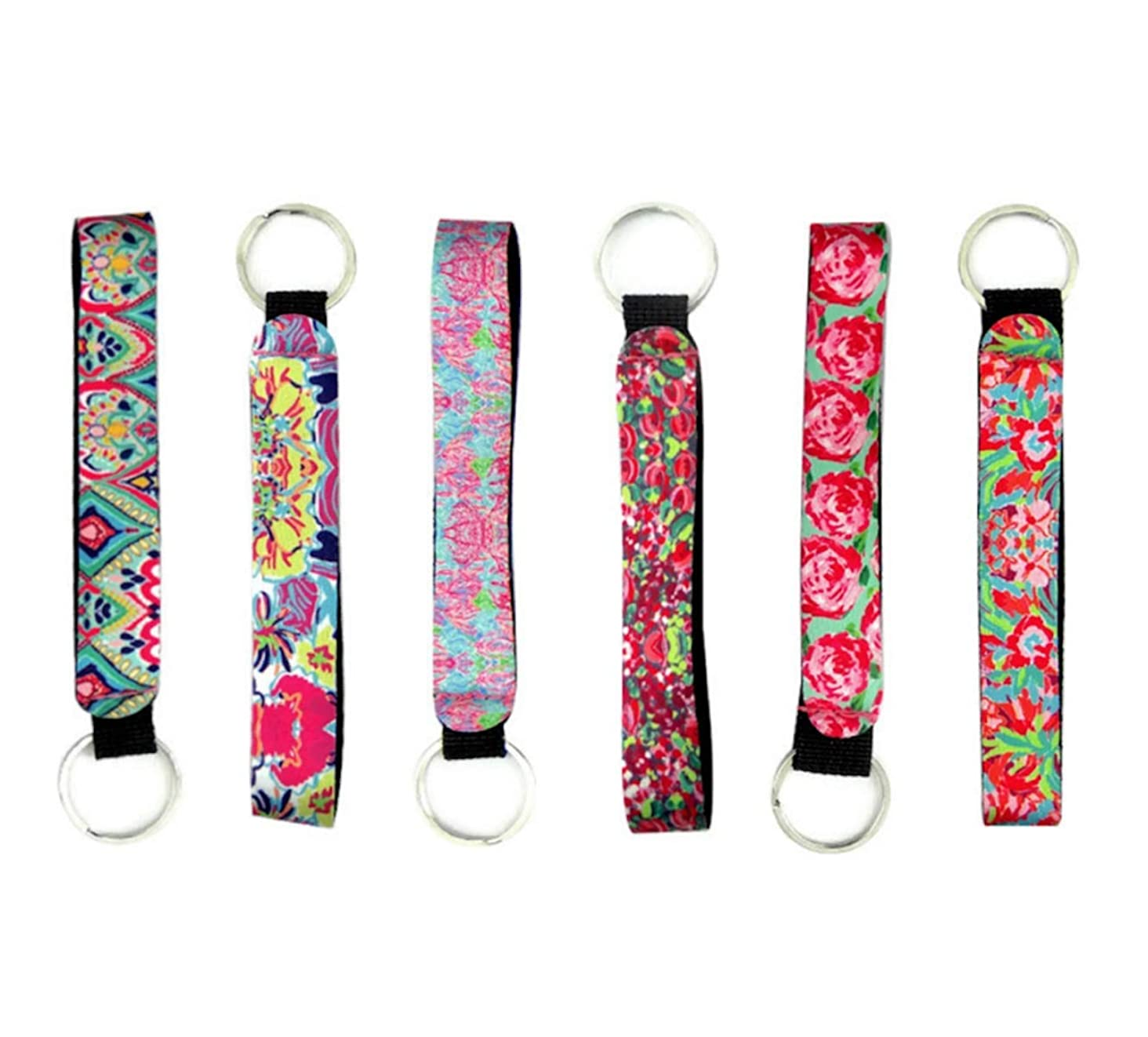 Cool Neoprene Wristlet Keychain Lanyard 6 Pack - Neoprene Key Chain Holder to Match Chapstick Holder Keychain, 6 Unique Fun Colors