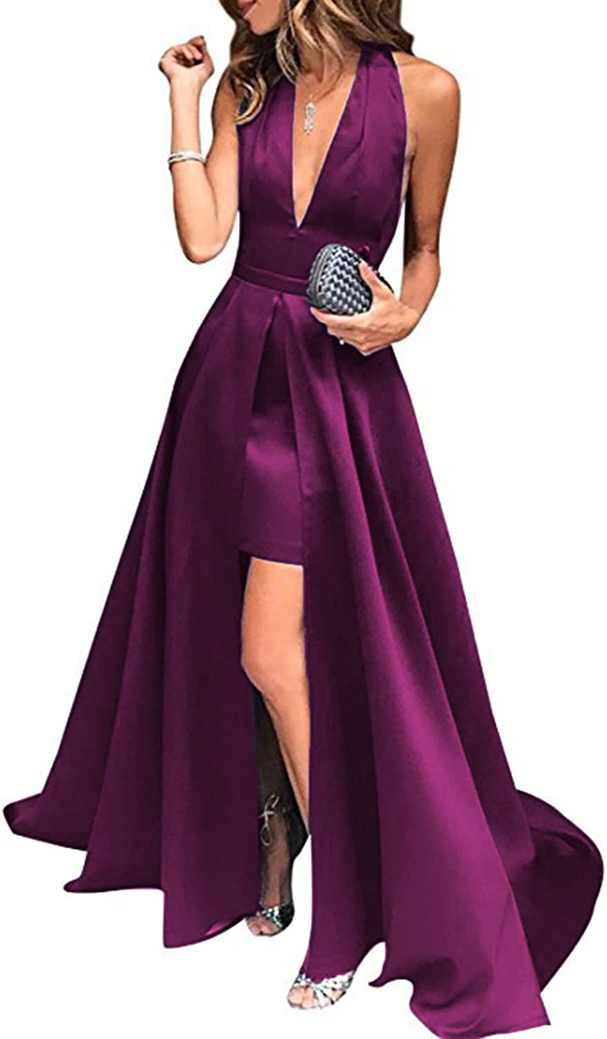 Beautydress Womens Pluging VNeck Formal Party Gown Sexy Backless Prom Dresses Slit