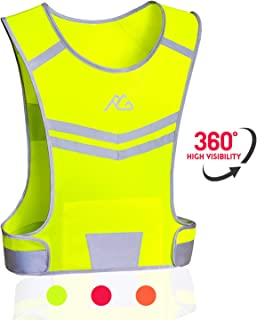 GoxRunx Reflective Running Vest Gear, Light & Comfortable Cycling Motorcycle Reflective Vest,Large Zippered Inside Pocket & Adjustable Waist,High Visibility Night Running Safety Vest